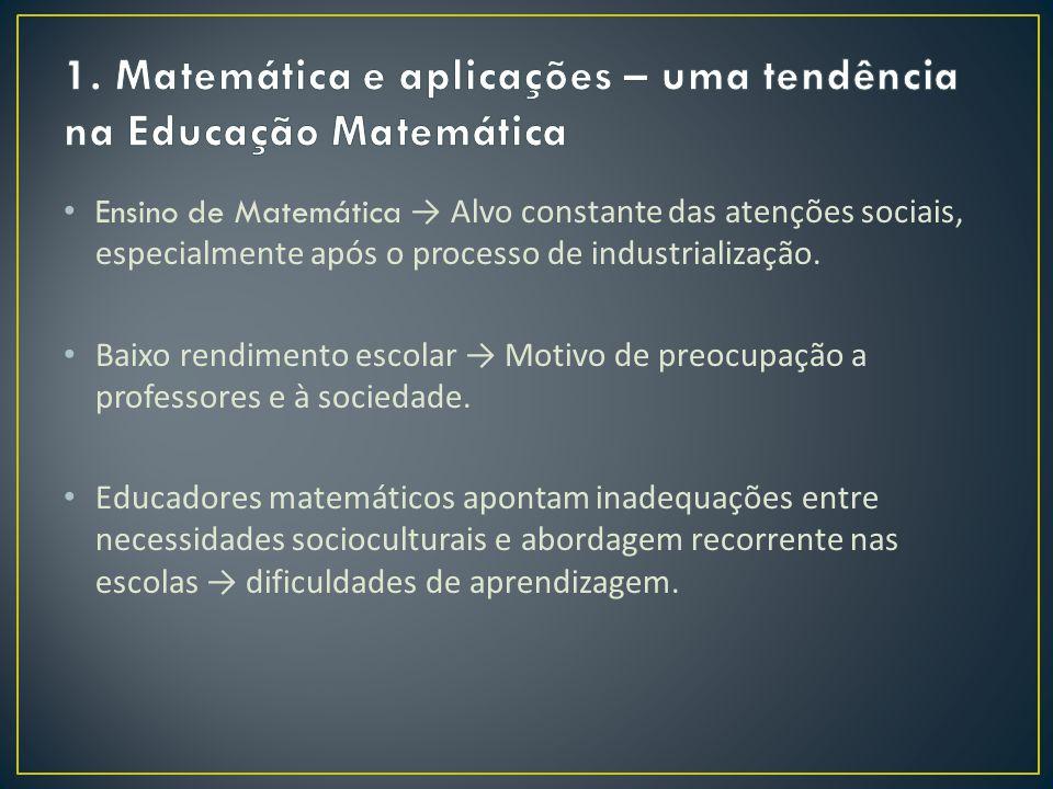 Ensino de Matemática → Alvo constante das atenções sociais, especialmente após o processo de industrialização. Baixo rendimento escolar → Motivo de pr
