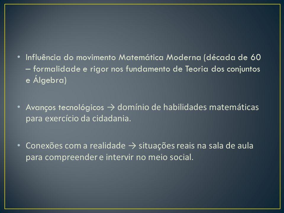 Influência do movimento Matemática Moderna (década de 60 – formalidade e rigor nos fundamento de Teoria dos conjuntos e Álgebra) Avanços tecnológicos