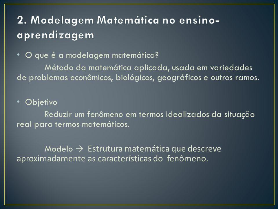 O que é a modelagem matemática? Método da matemática aplicada, usada em variedades de problemas econômicos, biológicos, geográficos e outros ramos. Ob