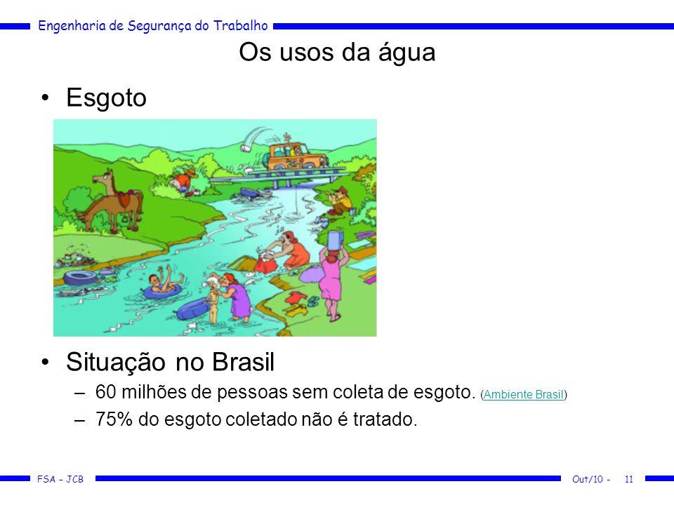 FSA – JCB Engenharia de Segurança do Trabalho Os usos da água Esgoto Situação no Brasil –60 milhões de pessoas sem coleta de esgoto.