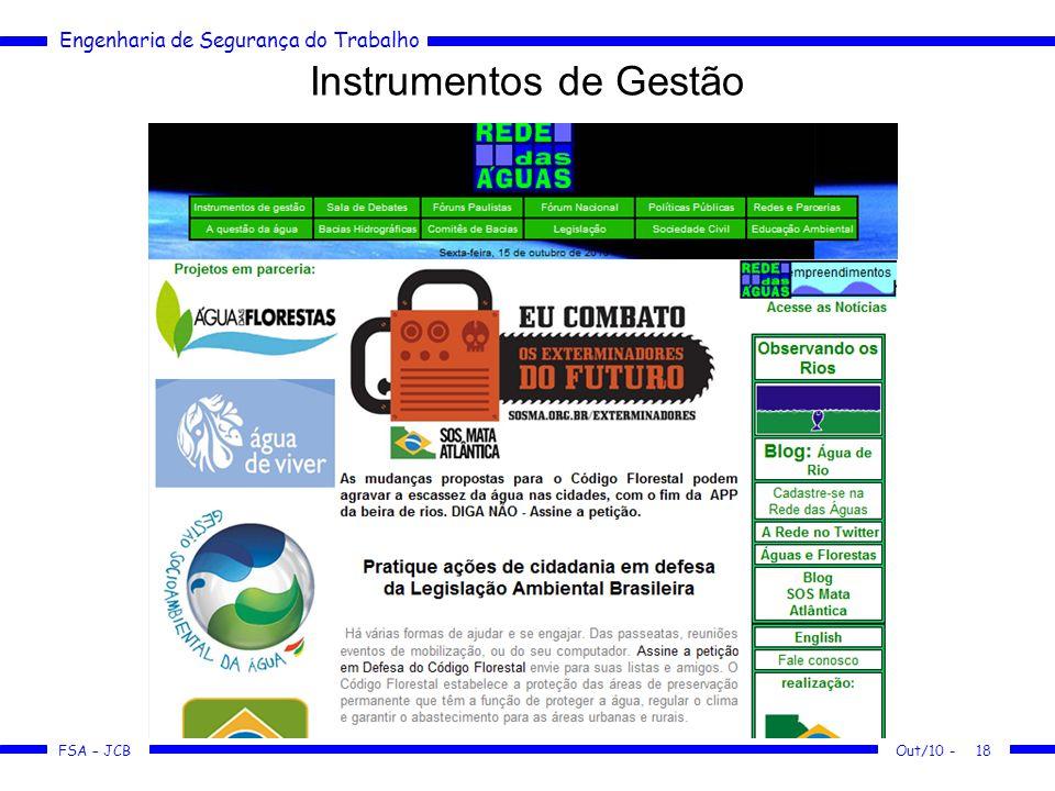 FSA – JCB Engenharia de Segurança do Trabalho Instrumentos de Gestão Out/10 -18