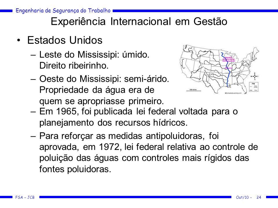 FSA – JCB Engenharia de Segurança do Trabalho Experiência Internacional em Gestão Estados Unidos –Leste do Mississipi: úmido.