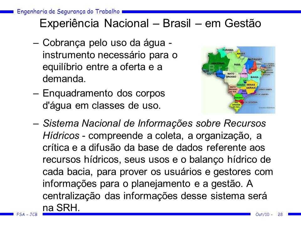 FSA – JCB Engenharia de Segurança do Trabalho Experiência Nacional – Brasil – em Gestão –Cobrança pelo uso da água - instrumento necessário para o equilíbrio entre a oferta e a demanda.
