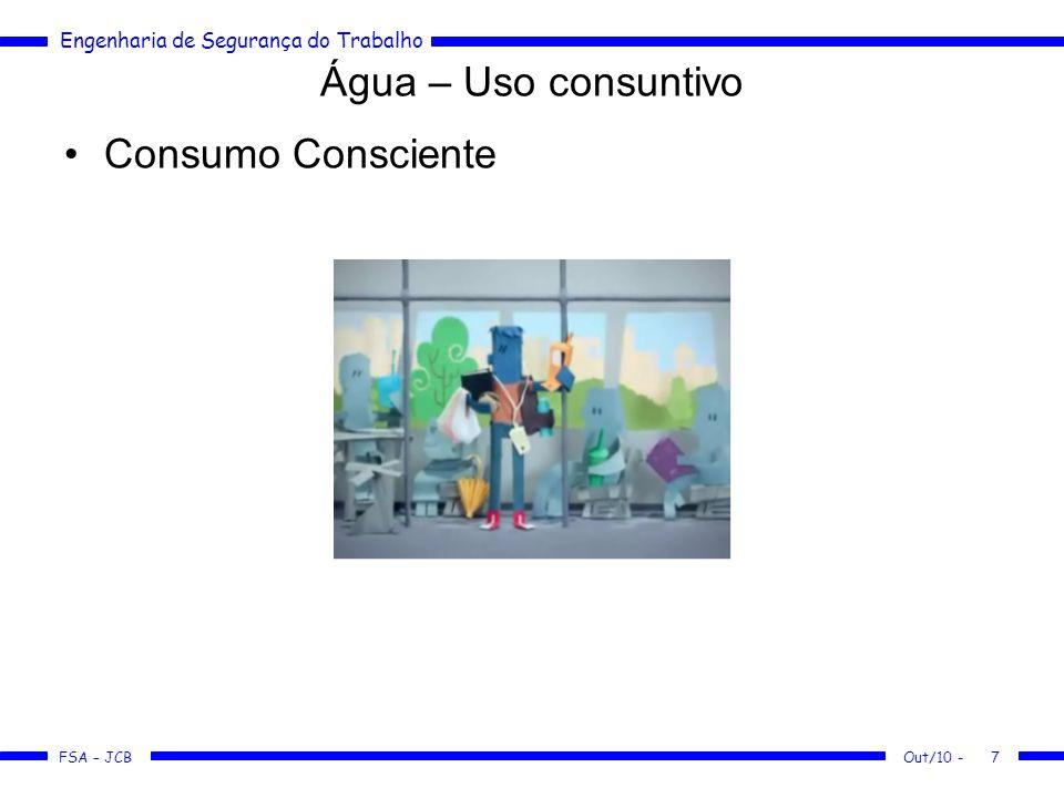 FSA – JCB Engenharia de Segurança do Trabalho Os usos da água Uso Doméstico ETA – Estação de Tratamento de Água –Adição de coagulantes: Sulfato de alumínio, sulfato ferroso, etc.
