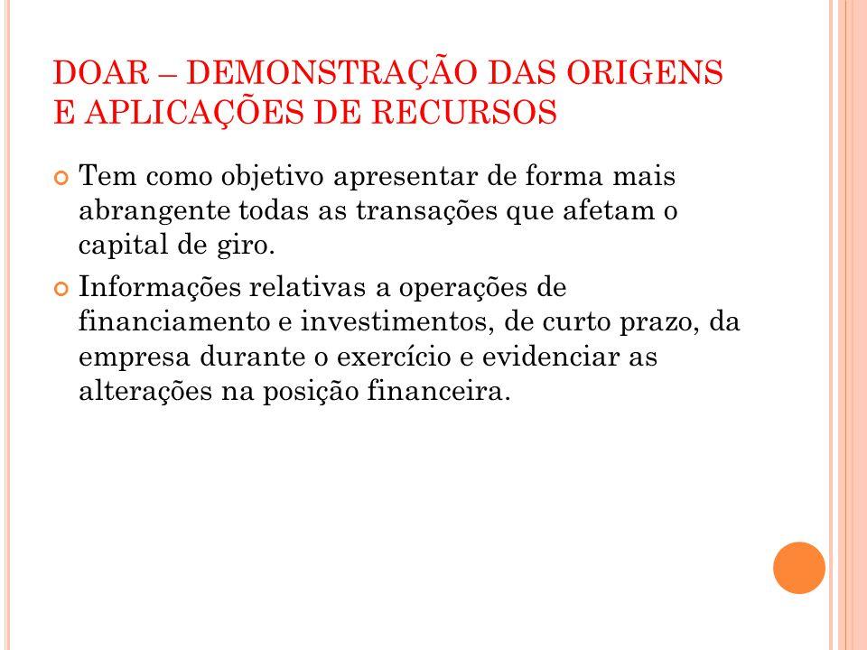 DOAR – DEMONSTRAÇÃO DAS ORIGENS E APLICAÇÕES DE RECURSOS Obrigatoriedade.