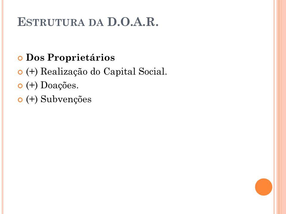 E STRUTURA DA D.O.A.R. Dos Proprietários (+) Realização do Capital Social. (+) Doações. (+) Subvenções