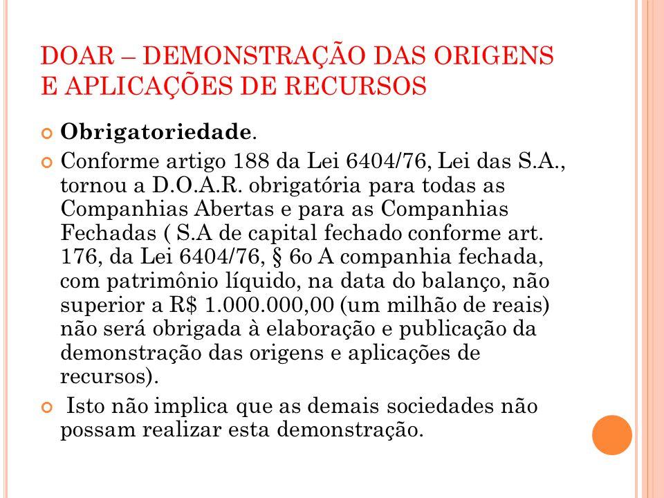 DOAR – DEMONSTRAÇÃO DAS ORIGENS E APLICAÇÕES DE RECURSOS Art.