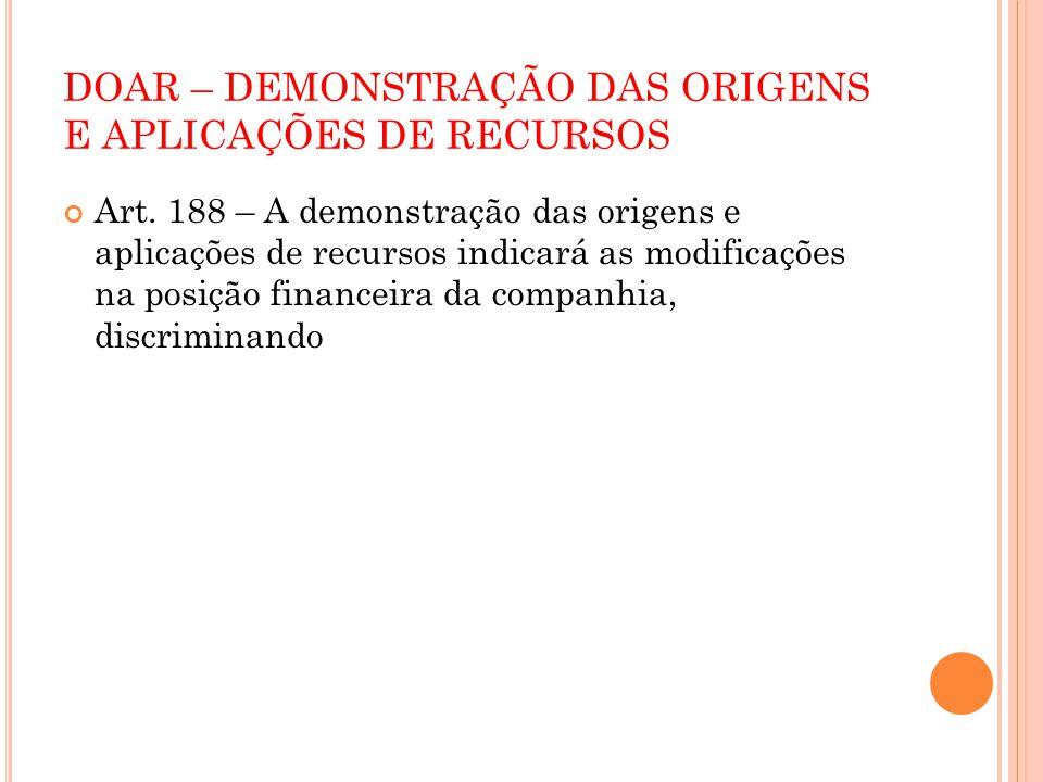 DOAR – DEMONSTRAÇÃO DAS ORIGENS E APLICAÇÕES DE RECURSOS Art. 188 – A demonstração das origens e aplicações de recursos indicará as modificações na po