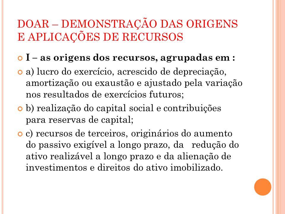 DOAR – DEMONSTRAÇÃO DAS ORIGENS E APLICAÇÕES DE RECURSOS I – as origens dos recursos, agrupadas em : a) lucro do exercício, acrescido de depreciação,