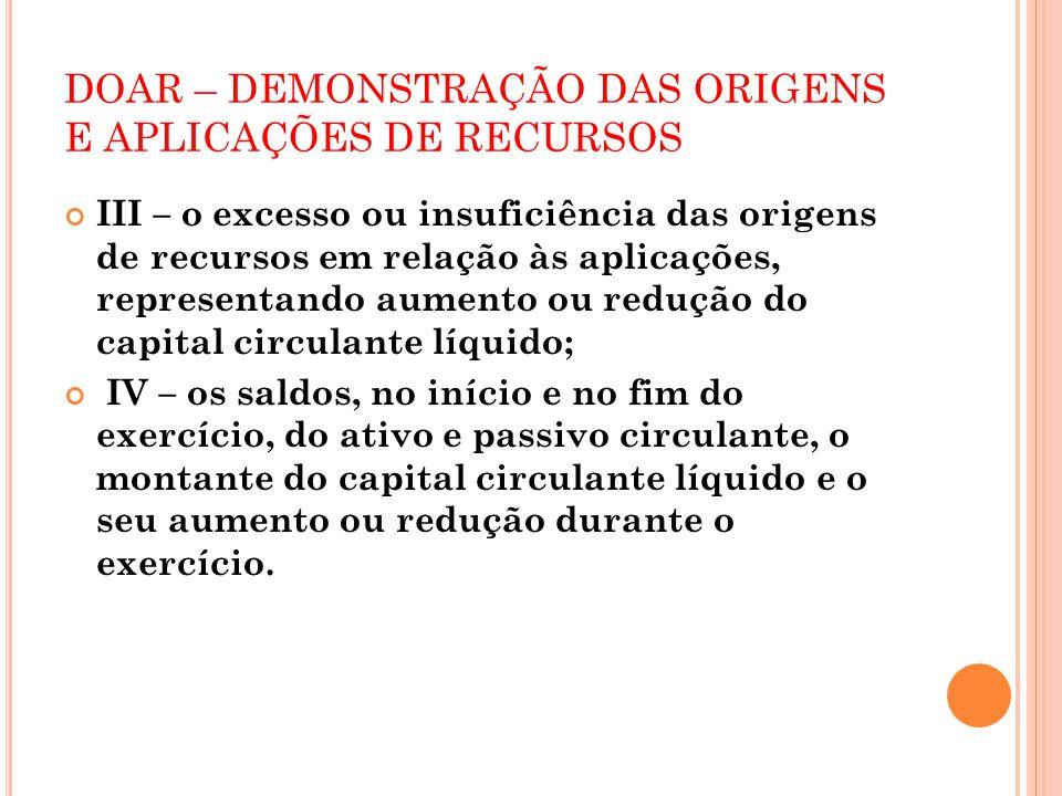 DOAR – DEMONSTRAÇÃO DAS ORIGENS E APLICAÇÕES DE RECURSOS III – o excesso ou insuficiência das origens de recursos em relação às aplicações, representa
