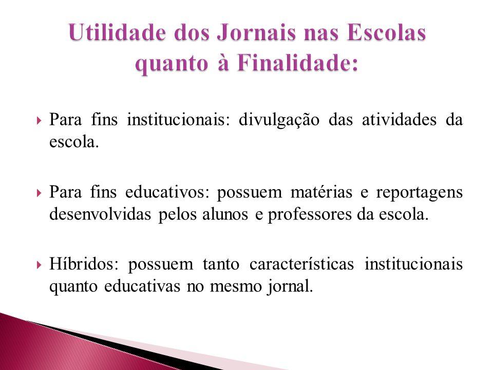  Para fins institucionais: divulgação das atividades da escola.  Para fins educativos: possuem matérias e reportagens desenvolvidas pelos alunos e p