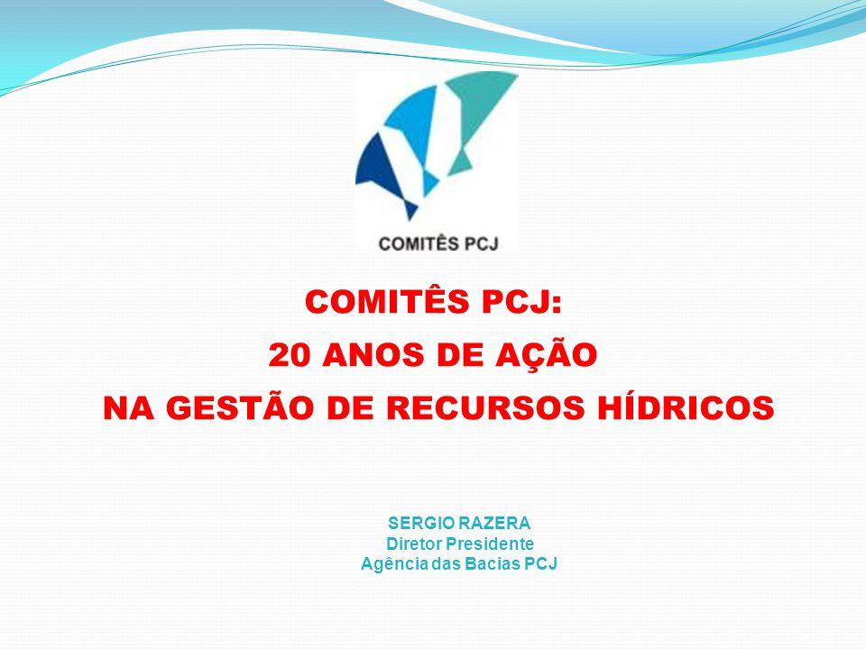 COMITÊS PCJ: 20 ANOS DE AÇÃO NA GESTÃO DE RECURSOS HÍDRICOS SERGIO RAZERA Diretor Presidente Agência das Bacias PCJ