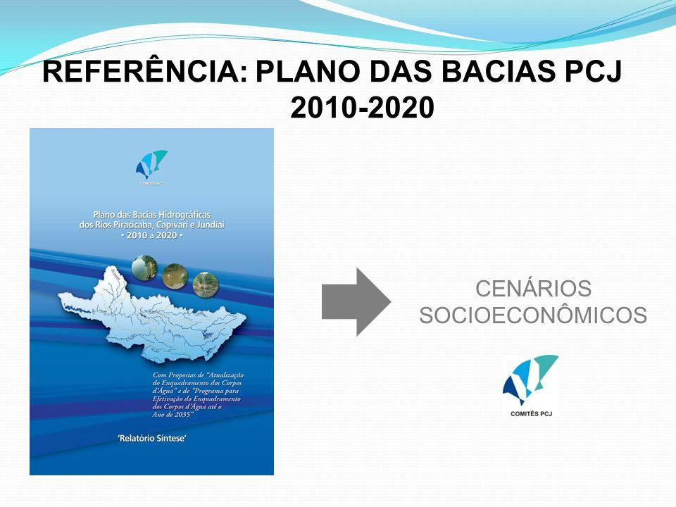 CENÁRIOS SOCIOECONÔMICOS REFERÊNCIA: PLANO DAS BACIAS PCJ 2010-2020