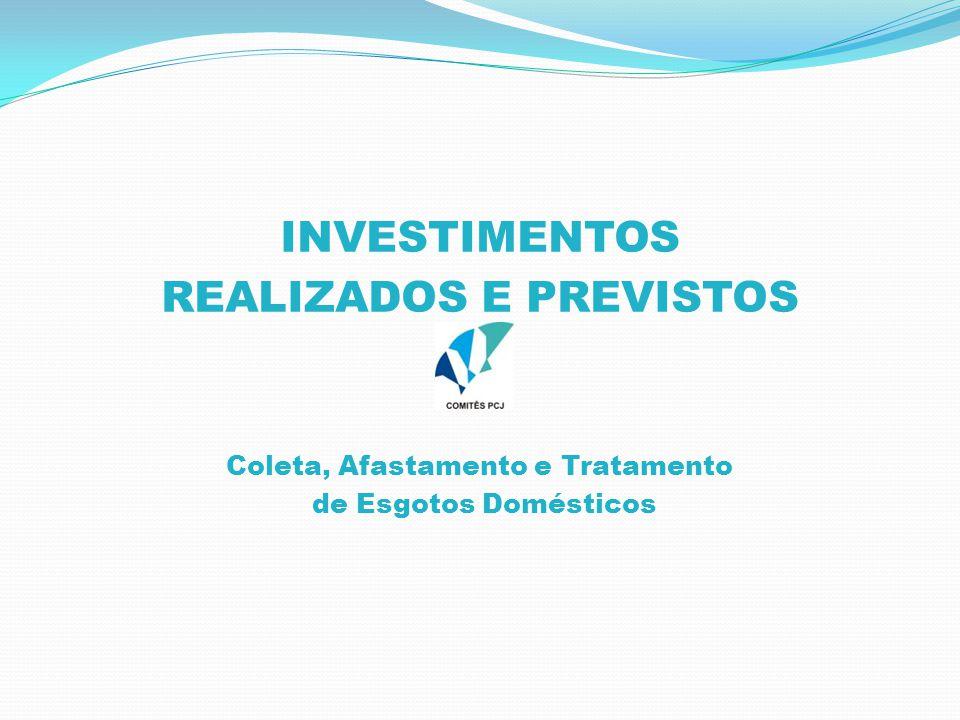 INVESTIMENTOS REALIZADOS E PREVISTOS Coleta, Afastamento e Tratamento de Esgotos Domésticos