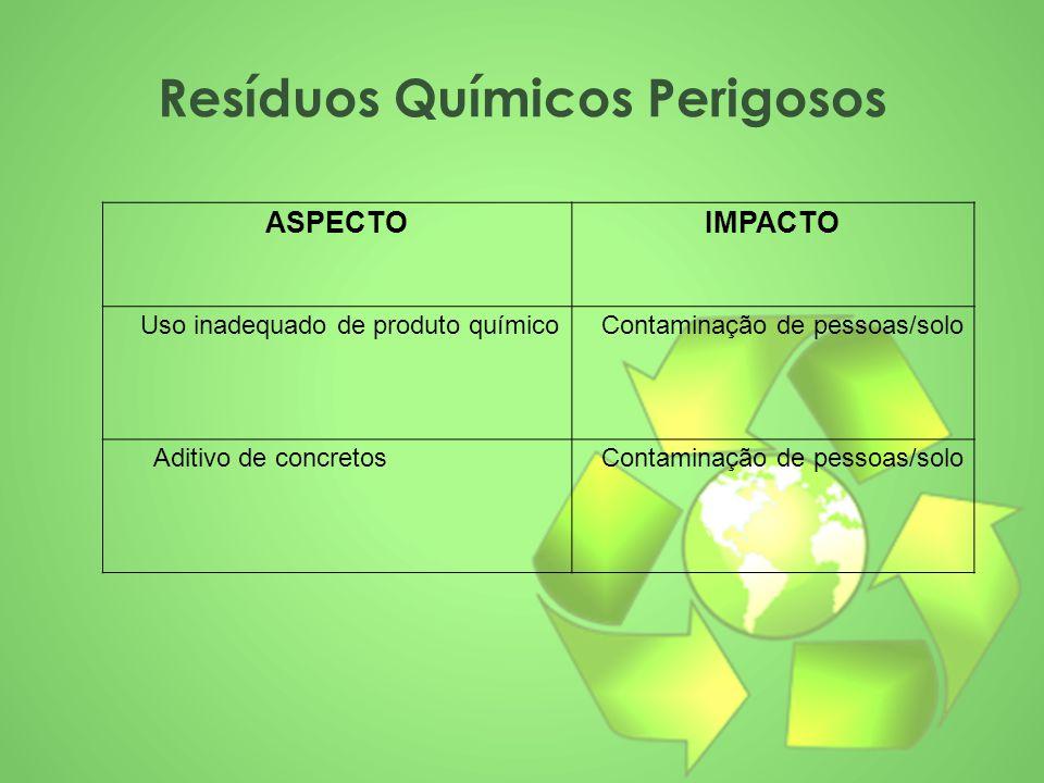 Resíduos Químicos Perigosos ASPECTOIMPACTO Uso inadequado de produto químico Contaminação de pessoas/solo Aditivo de concretos Contaminação de pessoas
