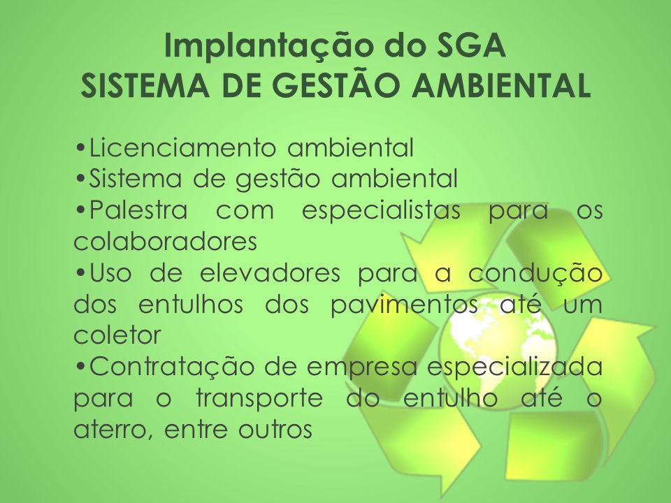 Implantação do SGA SISTEMA DE GESTÃO AMBIENTAL Licenciamento ambiental Sistema de gestão ambiental Palestra com especialistas para os colaboradores Us