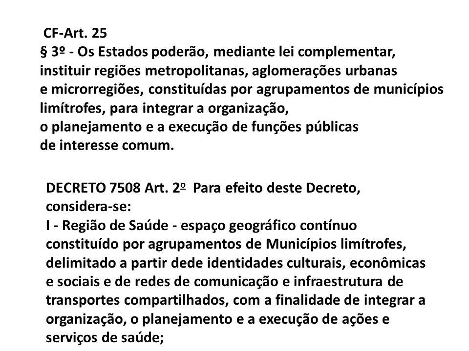 CF-Art. 25 § 3º - Os Estados poderão, mediante lei complementar, instituir regiões metropolitanas, aglomerações urbanas e microrregiões, constituídas