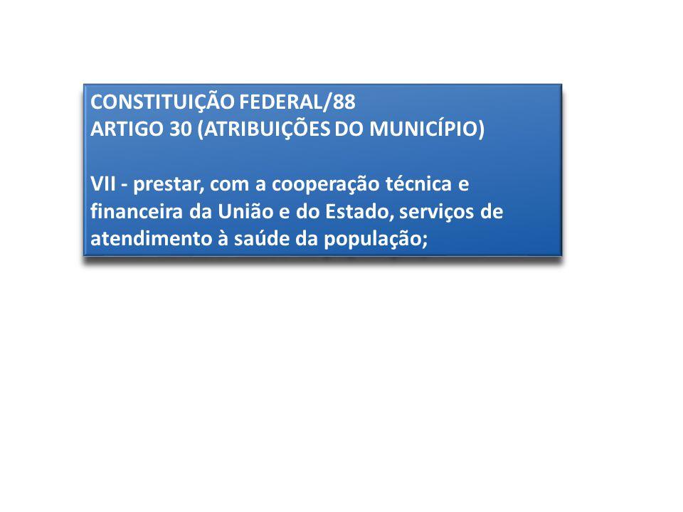 CONSTITUIÇÃO FEDERAL/88 ARTIGO 30 (ATRIBUIÇÕES DO MUNICÍPIO) VII - prestar, com a cooperação técnica e financeira da União e do Estado, serviços de at