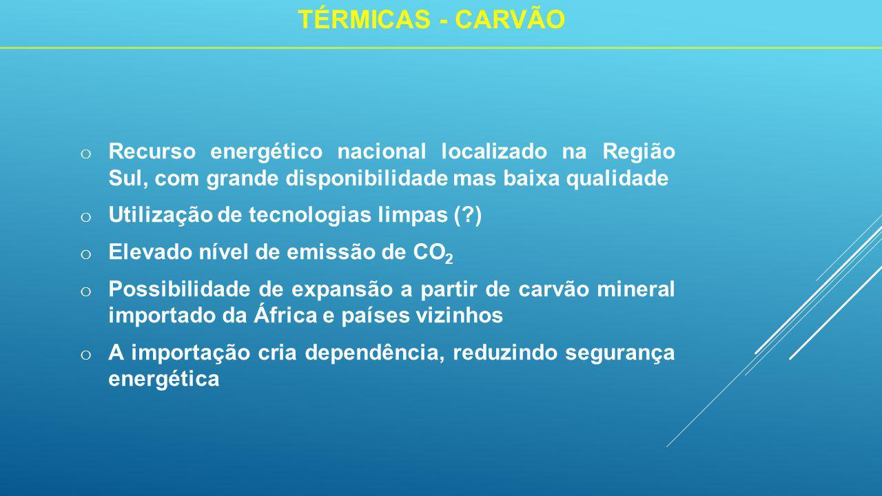 o Recurso energético nacional localizado na Região Sul, com grande disponibilidade mas baixa qualidade o Utilização de tecnologias limpas ( ) o Elevado nível de emissão de CO 2 o Possibilidade de expansão a partir de carvão mineral importado da África e países vizinhos o A importação cria dependência, reduzindo segurança energética TÉRMICAS - CARVÃO