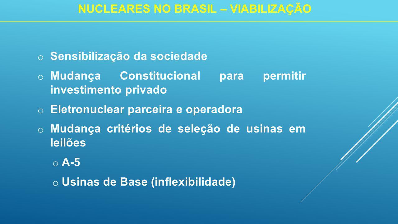 o Sensibilização da sociedade o Mudança Constitucional para permitir investimento privado o Eletronuclear parceira e operadora o Mudança critérios de seleção de usinas em leilões o A-5 o Usinas de Base (inflexibilidade) NUCLEARES NO BRASIL – VIABILIZAÇÃO