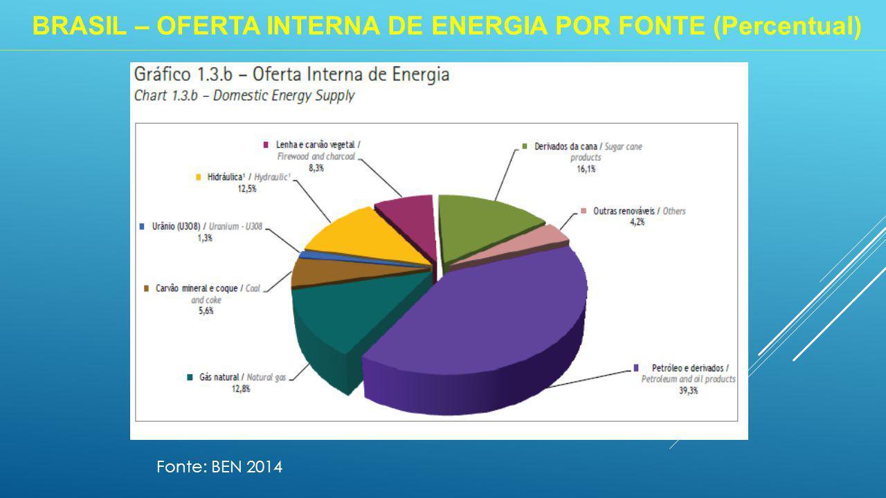 BRASIL – OFERTA INTERNA DE ENERGIA POR FONTE (Percentual) Fonte: BEN 2014
