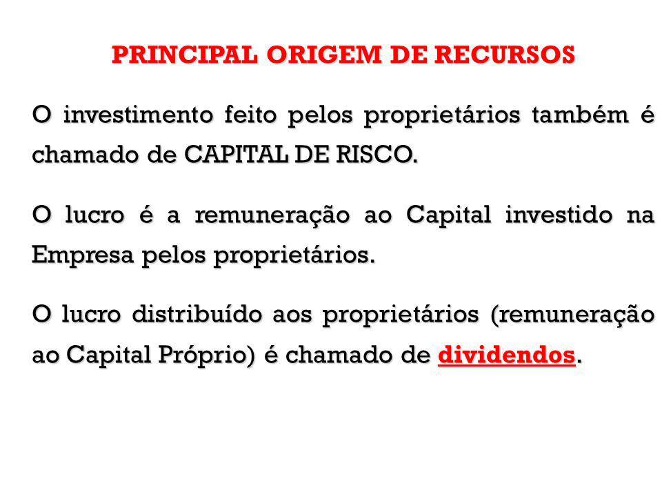 PRINCIPAL ORIGEM DE RECURSOS O investimento feito pelos proprietários também é chamado de CAPITAL DE RISCO. O lucro é a remuneração ao Capital investi