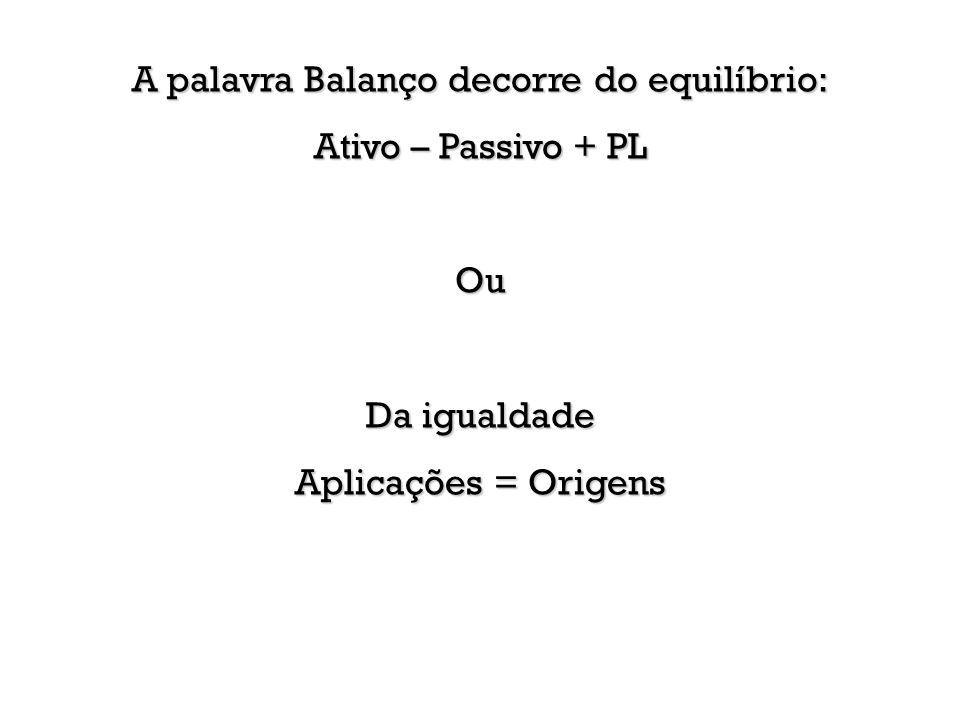 A palavra Balanço decorre do equilíbrio: Ativo – Passivo + PL Ou Da igualdade Aplicações = Origens