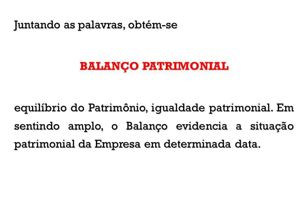 Juntando as palavras, obtém-se BALANÇO PATRIMONIAL equilíbrio do Patrimônio, igualdade patrimonial. Em sentindo amplo, o Balanço evidencia a situação