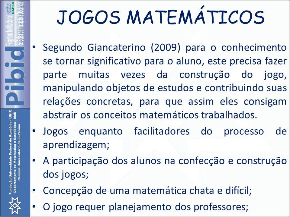 JOGOS MATEMÁTICOS Segundo Giancaterino (2009) para o conhecimento se tornar significativo para o aluno, este precisa fazer parte muitas vezes da const