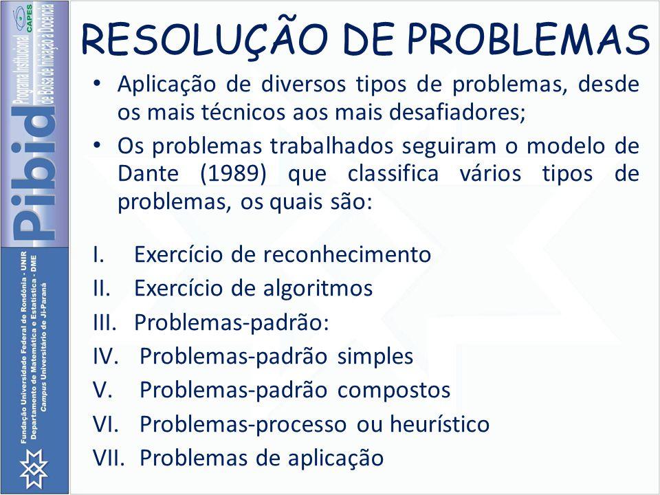 RESOLUÇÃO DE PROBLEMAS Aplicação de diversos tipos de problemas, desde os mais técnicos aos mais desafiadores; Os problemas trabalhados seguiram o mod