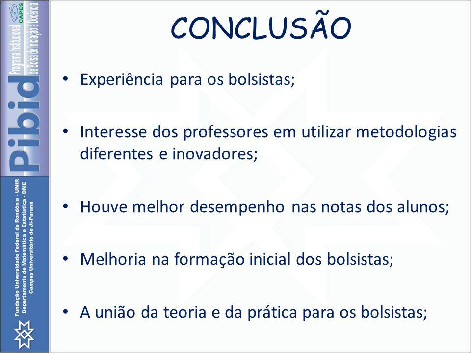 CONCLUSÃO Experiência para os bolsistas; Interesse dos professores em utilizar metodologias diferentes e inovadores; Houve melhor desempenho nas notas