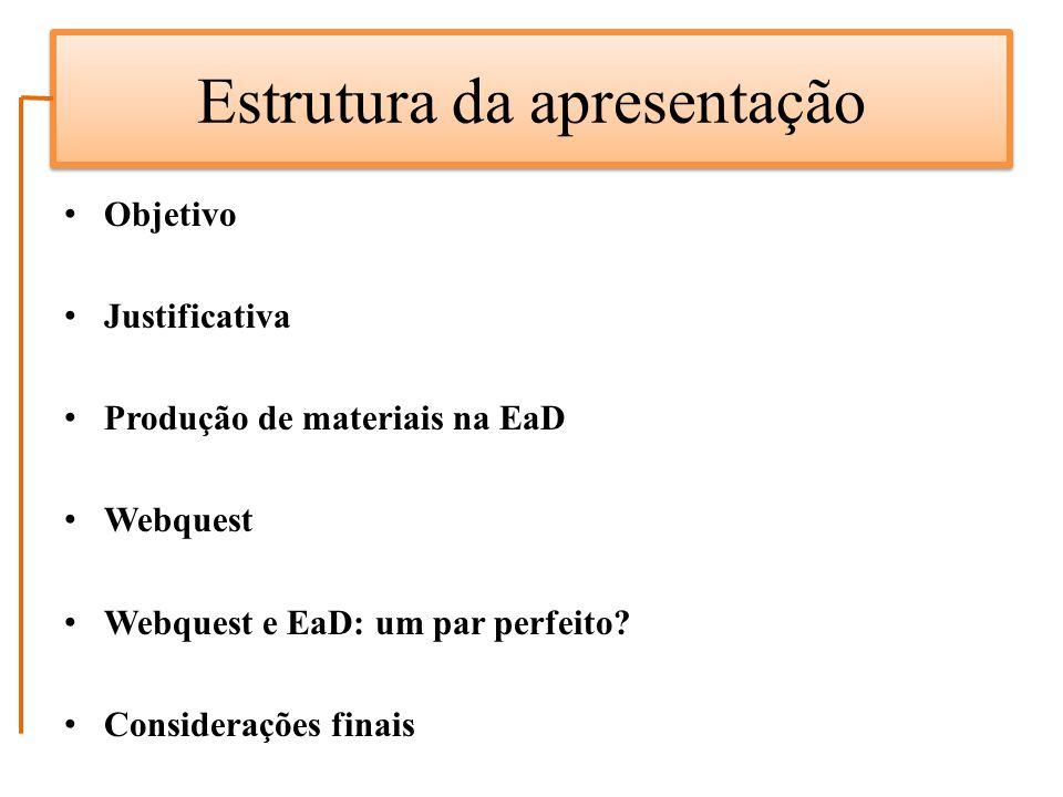 Estrutura da apresentação Objetivo Justificativa Produção de materiais na EaD Webquest Webquest e EaD: um par perfeito? Considerações finais