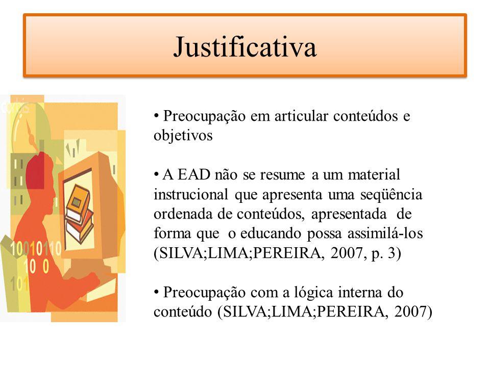 Justificativa Preocupação em articular conteúdos e objetivos A EAD não se resume a um material instrucional que apresenta uma seqüência ordenada de co