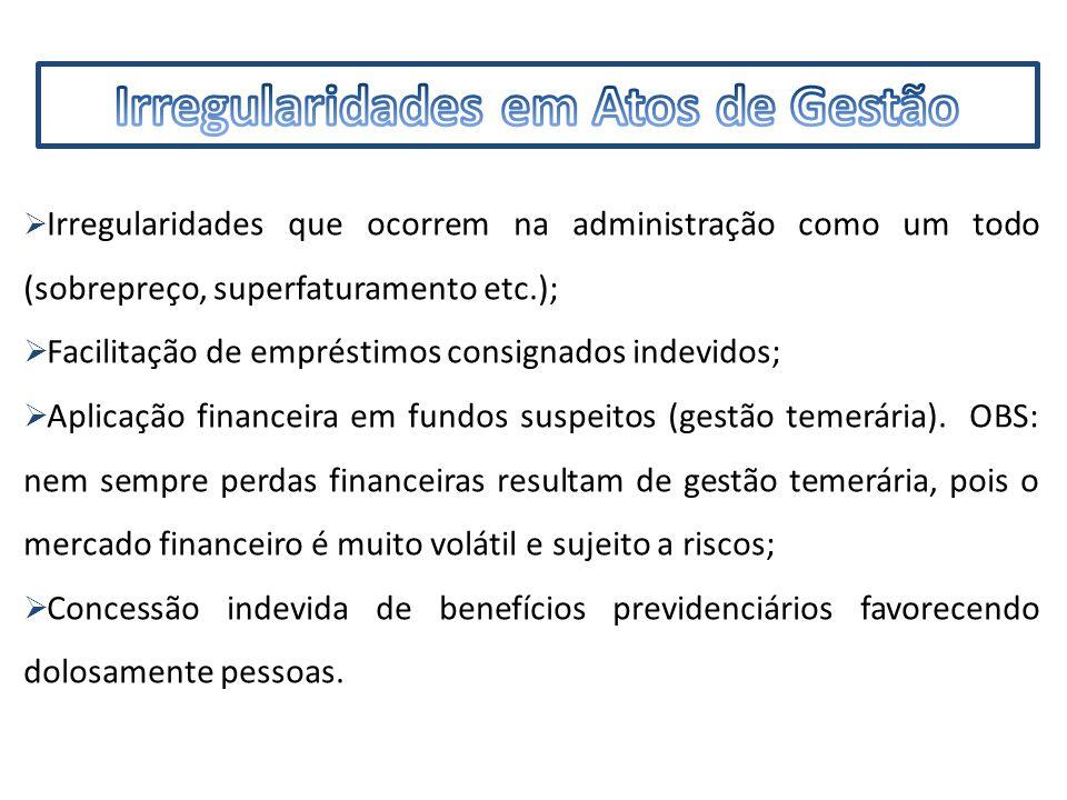 IMF  Irregularidades que ocorrem na administração como um todo (sobrepreço, superfaturamento etc.);  Facilitação de empréstimos consignados indevidos;  Aplicação financeira em fundos suspeitos (gestão temerária).