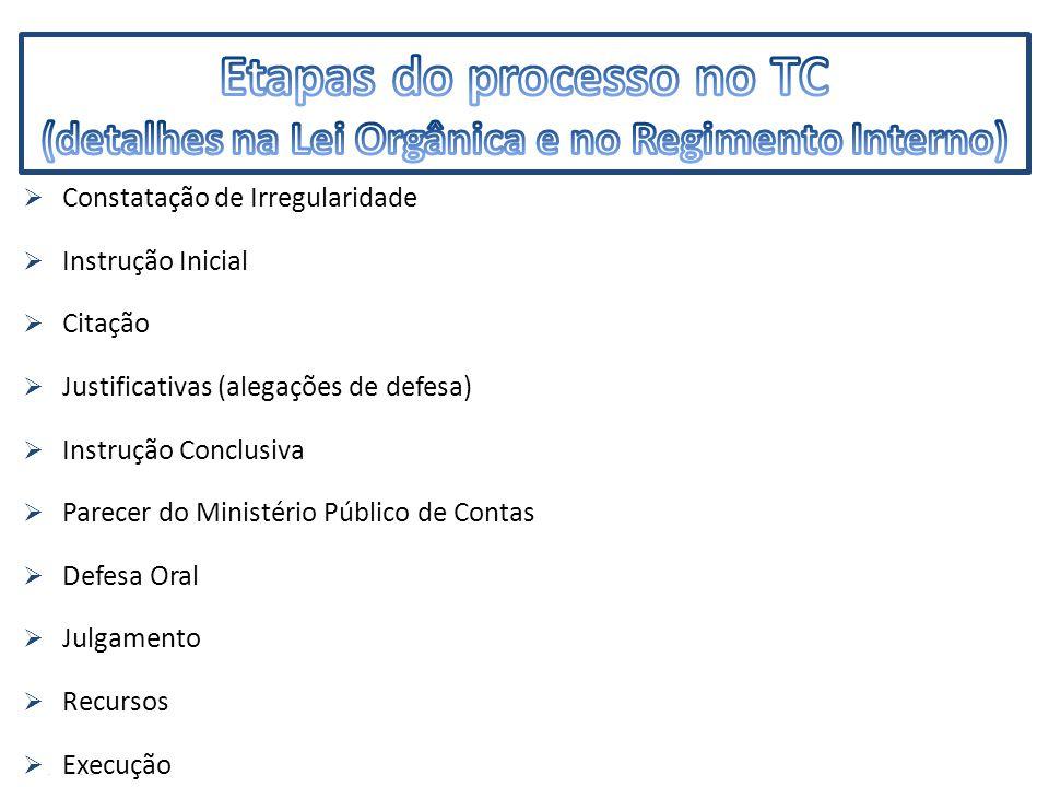 IMF  Constatação de Irregularidade  Instrução Inicial  Citação  Justificativas (alegações de defesa)  Instrução Conclusiva  Parecer do Ministério Público de Contas  Defesa Oral  Julgamento  Recursos  Execução
