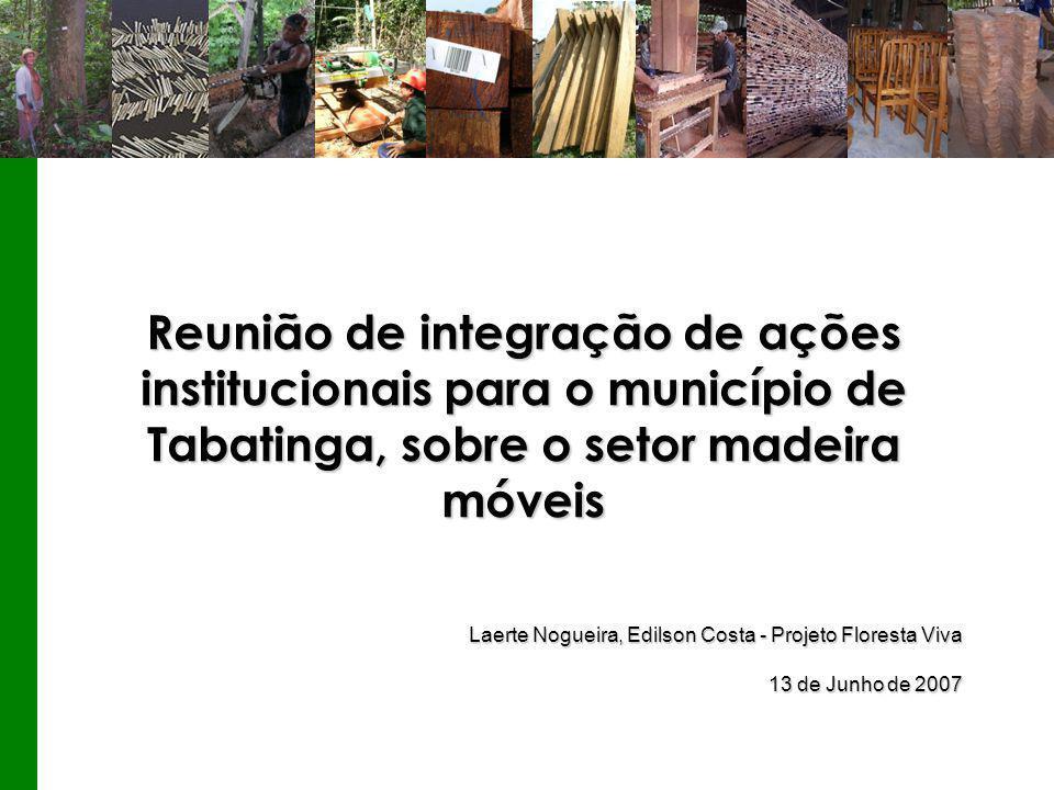 Reunião de integração de ações institucionais para o município de Tabatinga, sobre o setor madeira móveis Laerte Nogueira, Edilson Costa - Projeto Floresta Viva 13 de Junho de 2007 Laerte Nogueira, Edilson Costa - Projeto Floresta Viva 13 de Junho de 2007