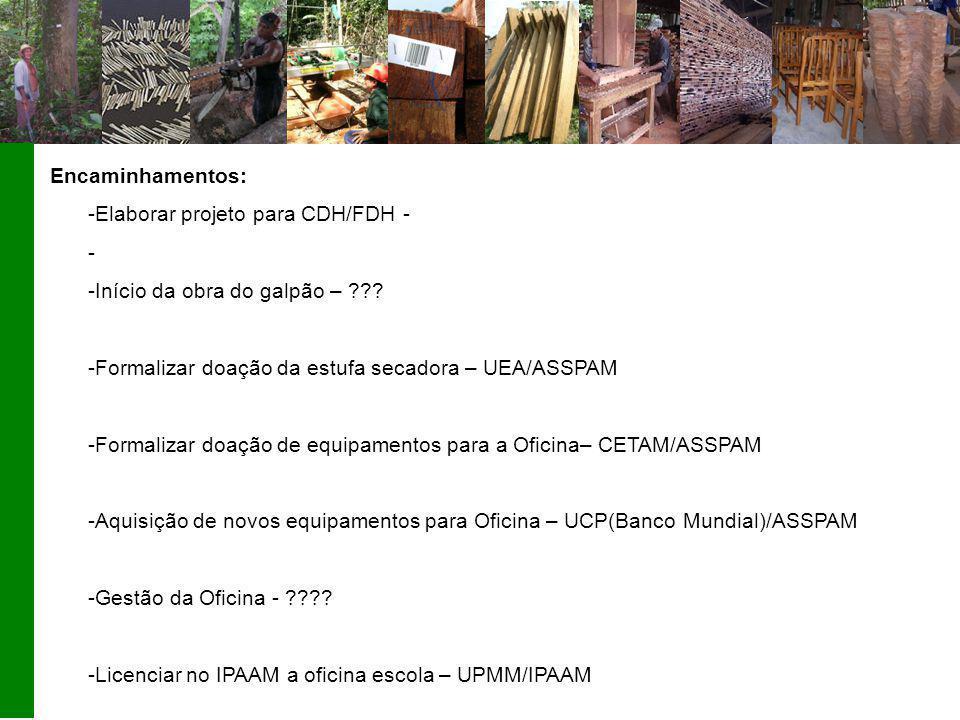 Encaminhamentos: -Elaborar projeto para CDH/FDH - - -Início da obra do galpão – ??.