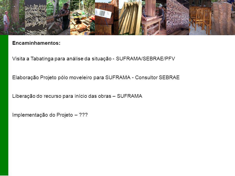 Encaminhamentos: Visita a Tabatinga para análise da situação - SUFRAMA/SEBRAE/PFV Elaboração Projeto pólo moveleiro para SUFRAMA - Consultor SEBRAE Li