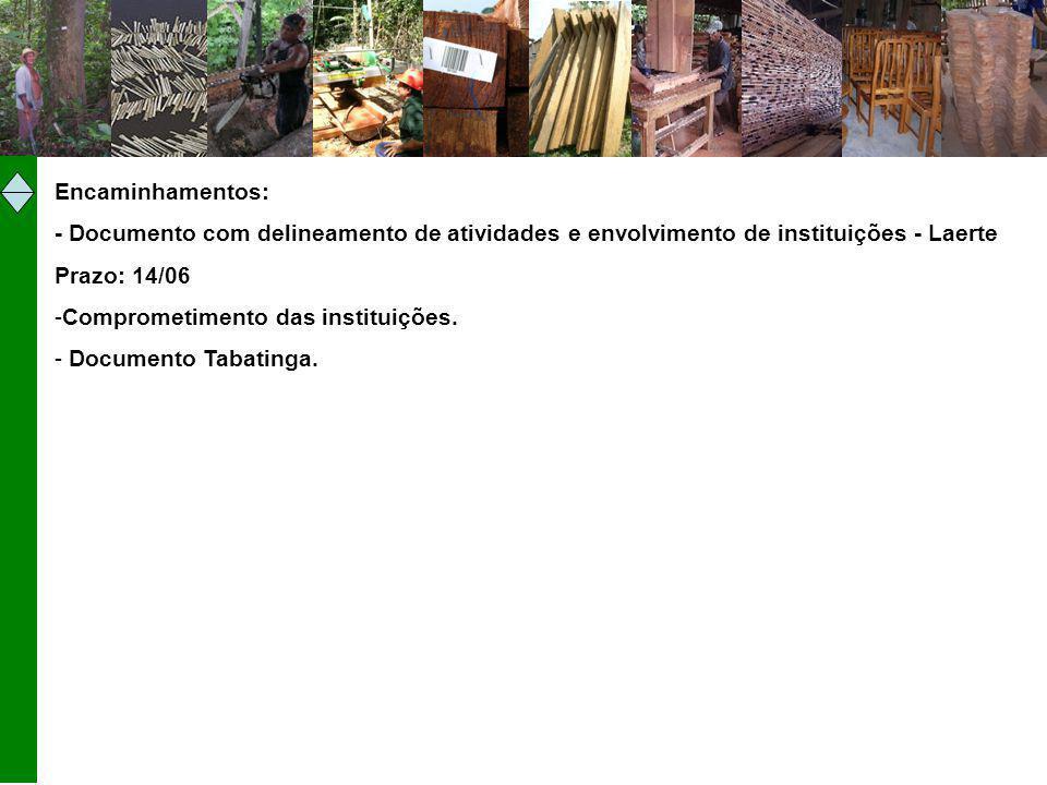 Encaminhamentos: - Documento com delineamento de atividades e envolvimento de instituições - Laerte Prazo: 14/06 -Comprometimento das instituições. -