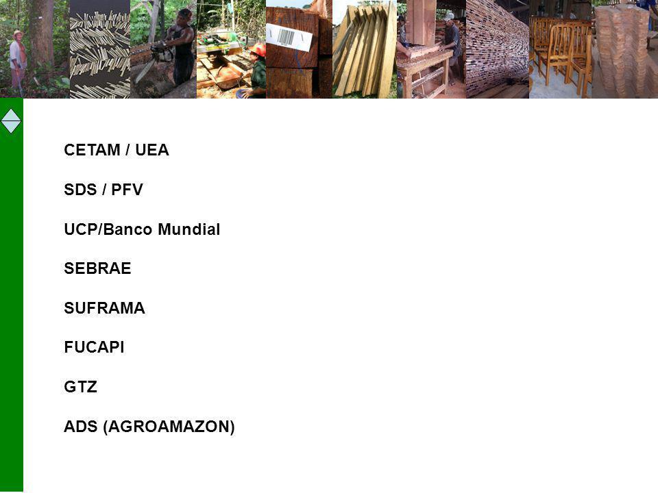 CETAM / UEA SDS / PFV UCP/Banco Mundial SEBRAE SUFRAMA FUCAPI GTZ ADS (AGROAMAZON)