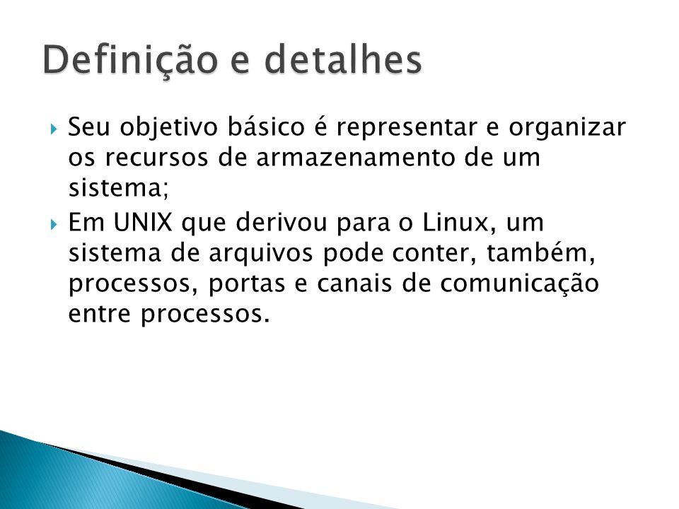  Seu objetivo básico é representar e organizar os recursos de armazenamento de um sistema;  Em UNIX que derivou para o Linux, um sistema de arquivos pode conter, também, processos, portas e canais de comunicação entre processos.