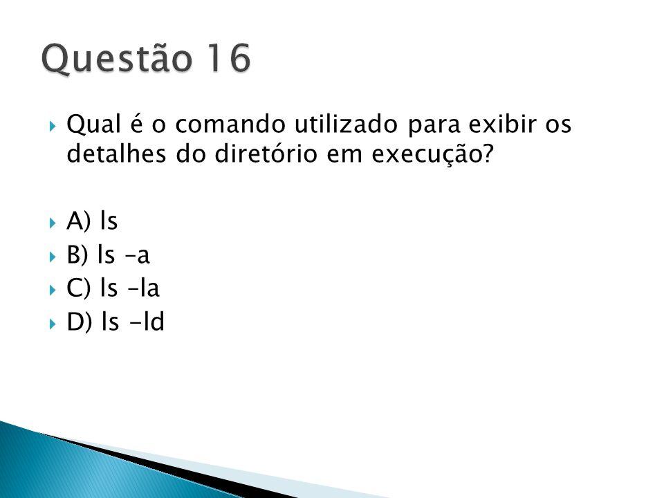  Qual é o comando utilizado para exibir os detalhes do diretório em execução.