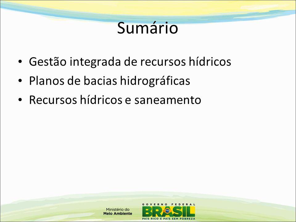 Sumário Gestão integrada de recursos hídricos Planos de bacias hidrográficas Recursos hídricos e saneamento