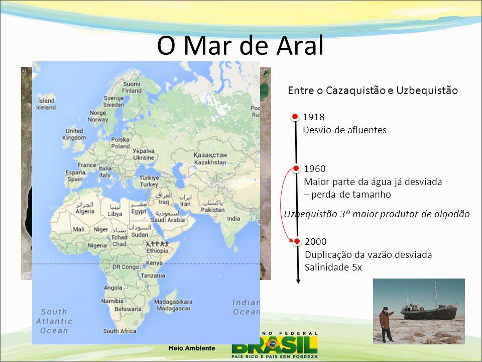 O Mar de Aral 19892008 - 90% Entre o Cazaquistão e Uzbequistão 1918 Desvio de afluentes 1960 Maior parte da água já desviada – perda de tamanho 2000 D