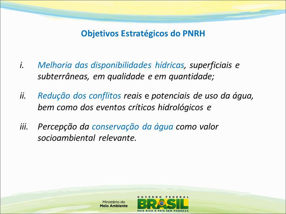 Objetivos Estratégicos do PNRH i.Melhoria das disponibilidades hídricas, superficiais e subterrâneas, em qualidade e em quantidade; ii.Redução dos con