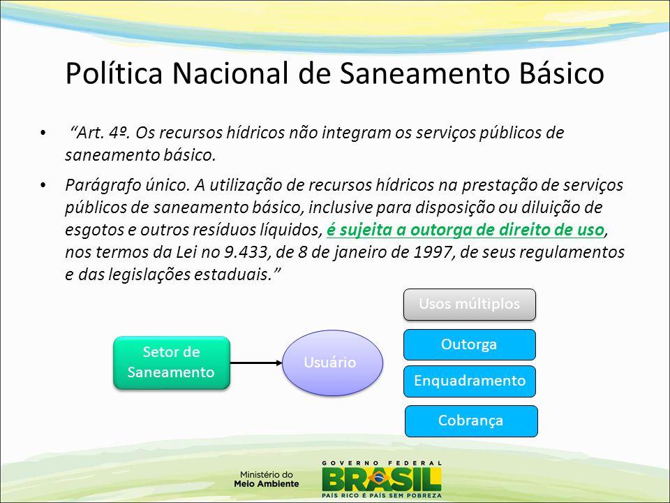 """Política Nacional de Saneamento Básico """"Art. 4º. Os recursos hídricos não integram os serviços públicos de saneamento básico. Parágrafo único. A utili"""