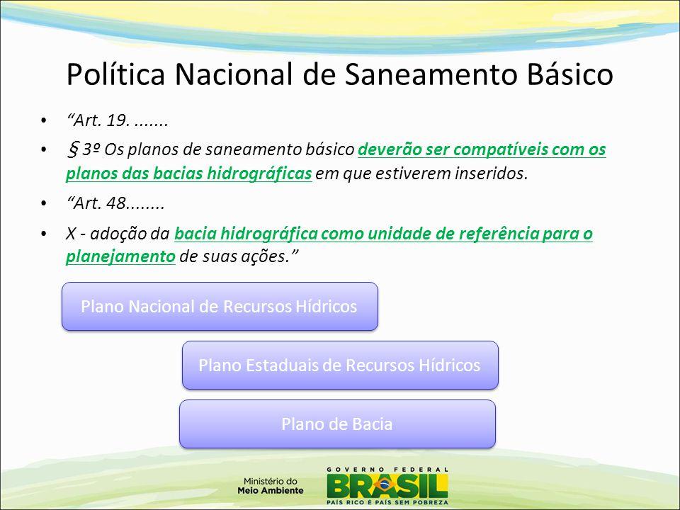 """Política Nacional de Saneamento Básico """"Art. 19........ § 3º Os planos de saneamento básico deverão ser compatíveis com os planos das bacias hidrográf"""