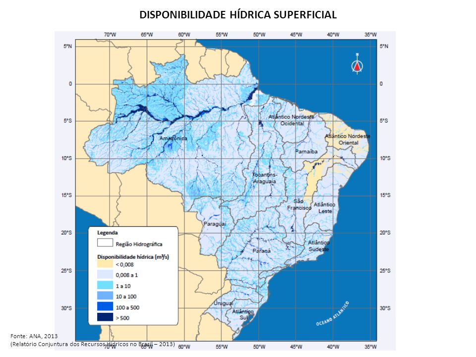 Demandas por regiões hidrográficas AnoRetiradaConsumo 20061.842 m³/s986 m³/s 20102.373 m³/s1.161 m³/s Fonte: ANA, 2013 (Relatório Conjuntura dos Recursos Hídricos no Brasil – 2013)