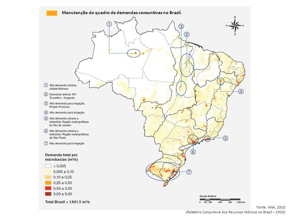 Vazão de retirada para irrigação e uso animal, por microbacias. CONJUNTURA 2009 Manutenção do quadro de demandas consuntivas no Brasil. Fonte: ANA, 20