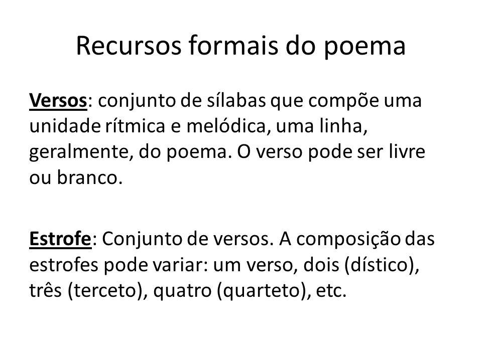 Recursos formais do poema Versos: conjunto de sílabas que compõe uma unidade rítmica e melódica, uma linha, geralmente, do poema. O verso pode ser liv